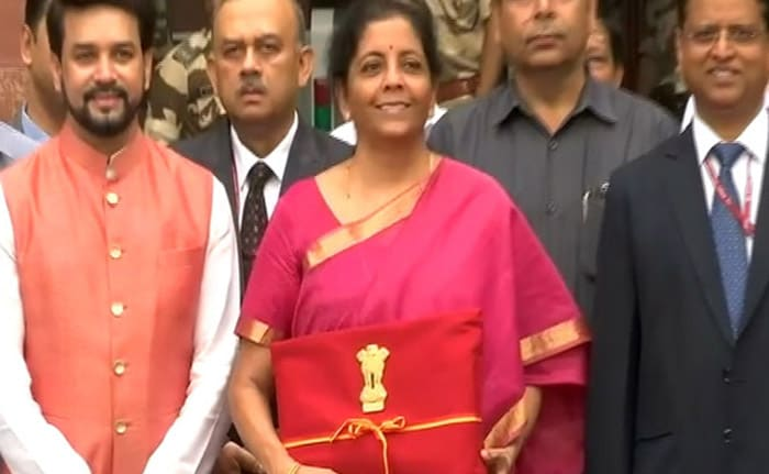 In Pics, Finance Minister Nirmala Sitharaman With Budget Document At Parliament