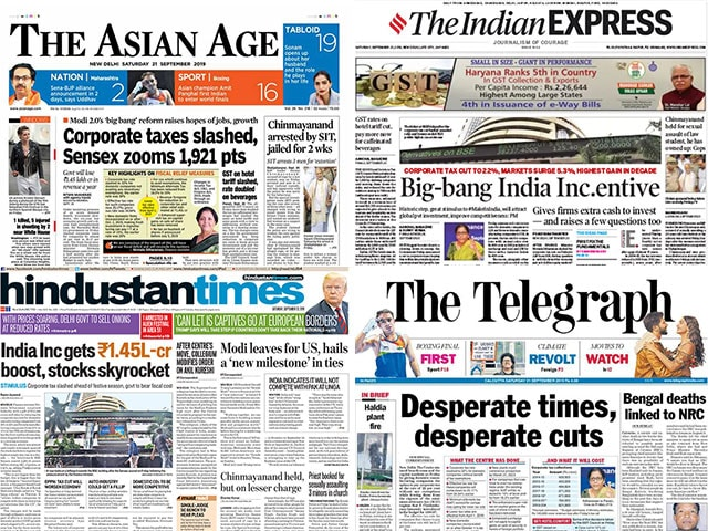 Photo : Centre's Corporate Tax Cut Headlines Front Pages Of All Major Dallies