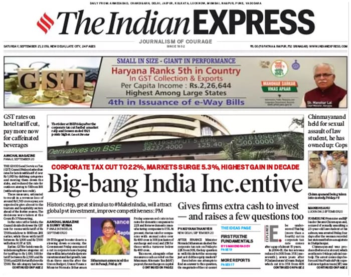 Centre\'s Corporate Tax Cut Headlines Front Pages Of All Major Dallies