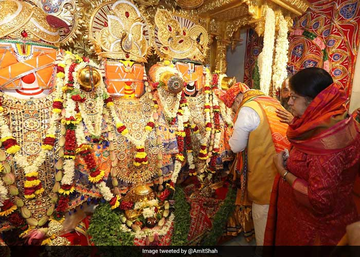 Home Minister Amit Shah Participates In \'Mangala Aarti\' In Gujarat Jagannath Rath Yatra