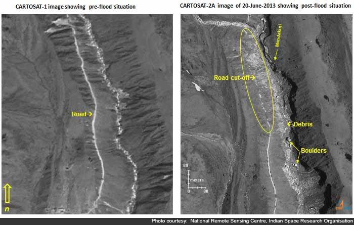 Kedarnath valley before and after the flash floods