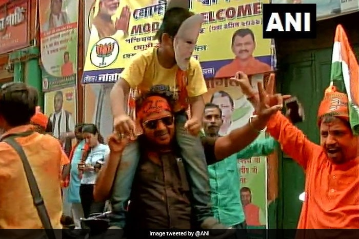 BJP Celebrates In Bengal As Saffron Surge Reaches Neck-And-Neck With Trinamool In Current Leads