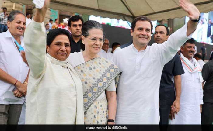 Sonia Gandhi And Congress Chief Rahul Gandhi share a stage with Mayawati