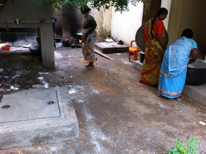 No lessons learnt? Mid-day meal cooked on septic tank next to toilet