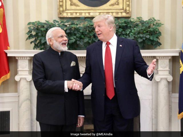 Photo : In Pics: PM Modi Greeted By Donald Trump With Handshake At White House