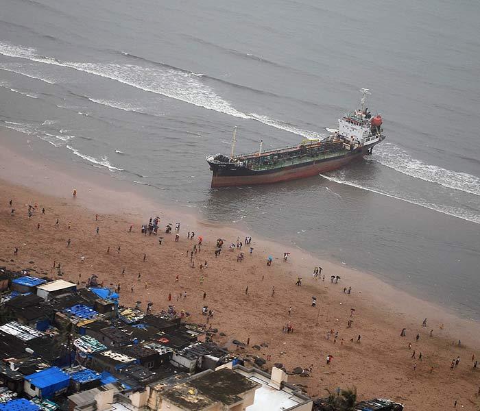 After Wisdom, MT Pavit runs aground at Juhu beach