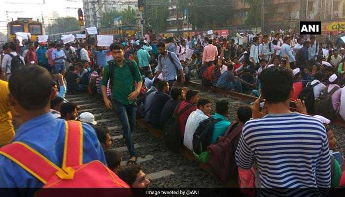 Mumbai Rail Roko: Train Services Hit As Students Demanding Railway Jobs Protest Sitting On Tracks