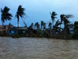 Photo : Odisha under an endless expanse of water after cyclone Phailin, floods