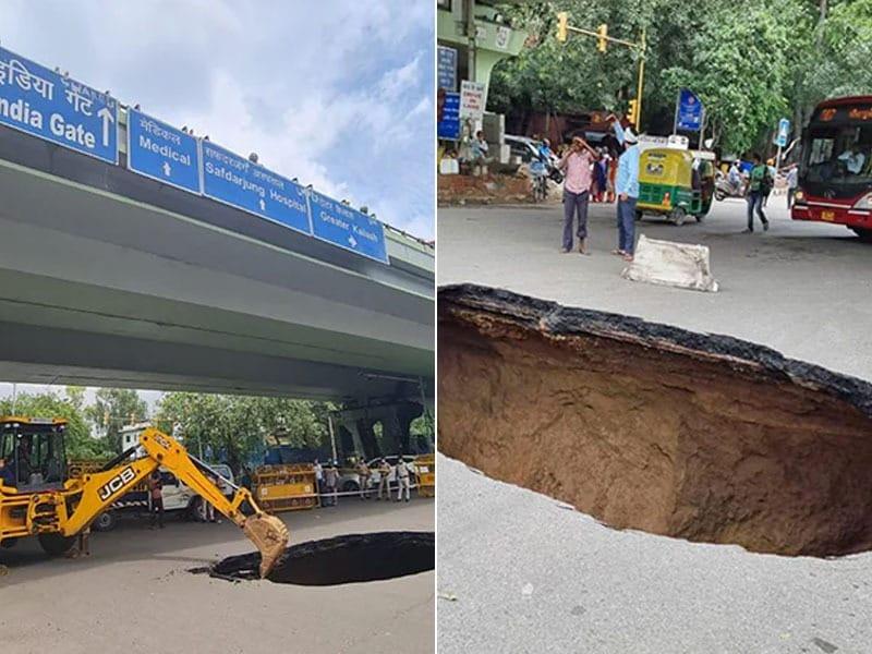 Photo : दिल्ली: आईआईटी फ्लाईओवर के नीचे सड़क में हुआ गहरा गड्ढा, देखें तस्वीरें...