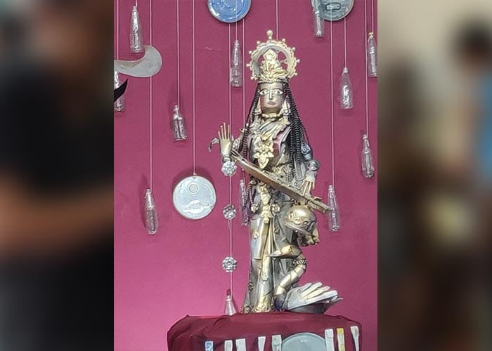 Check Out Delhi\'s Most Unique Durga Puja Pandal, Displaying Idols Made Of 220 Kg Recycled Materials