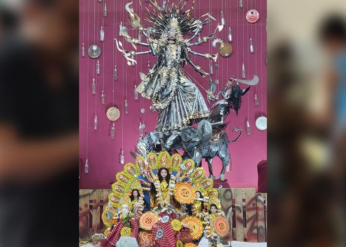 Photo : Check Out Delhi's Most Unique Durga Puja Pandal, Displaying Idols Made Of 220 Kg Recycled Materials