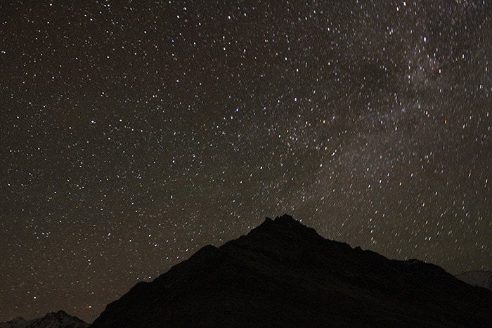 Lighting The Himalayas: Parked Tents, Stars in the Night Sky