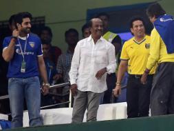 Photo : Amitabh Bachchan, Rajinikanth Cheer ISL Football