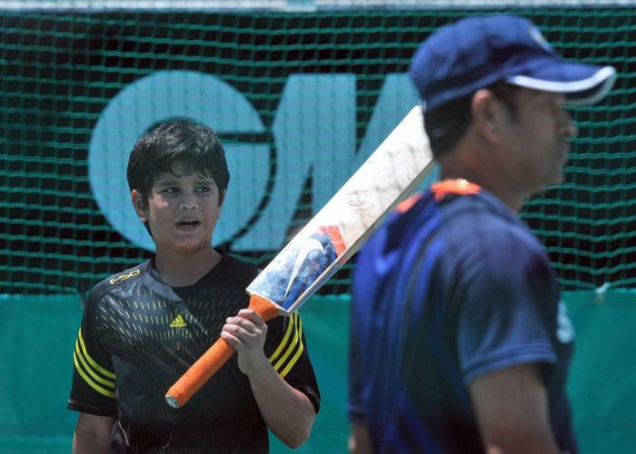 Jr. Tendulkar practises with Team India