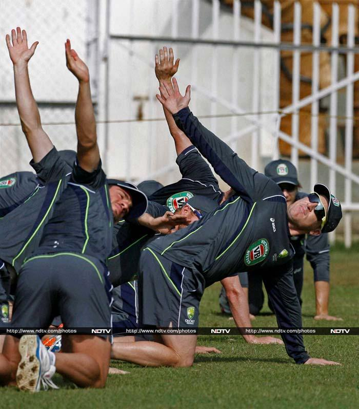 Australian players sweat it out in India