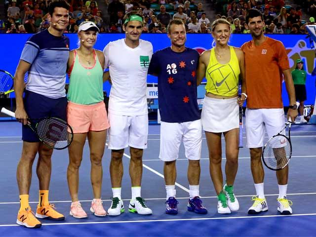 Photo : Australian Open: Roger Federer, Novak Djokovic Thrill Melbourne On Kids Tennis Day