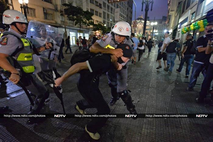 Football-loving Brazilians protest against FIFA World Cup