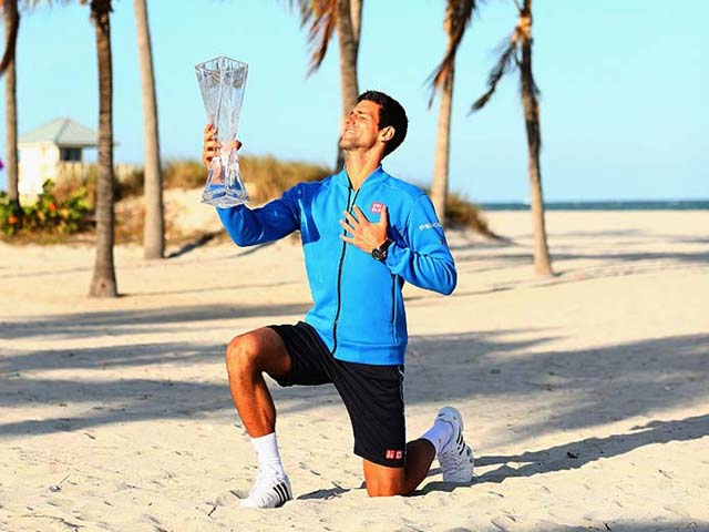 Photo : Novak Djokovic Celebrates 5th Miami Masters Title