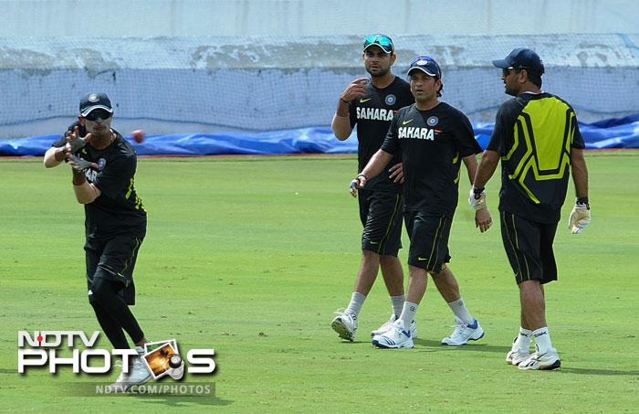 Team India train in Hyderabad