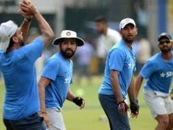 Photo : India, New Zealand Toil Hard on Eve of Indore Test