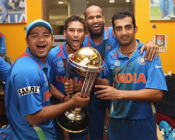 Team India receives trophy, then rejoices