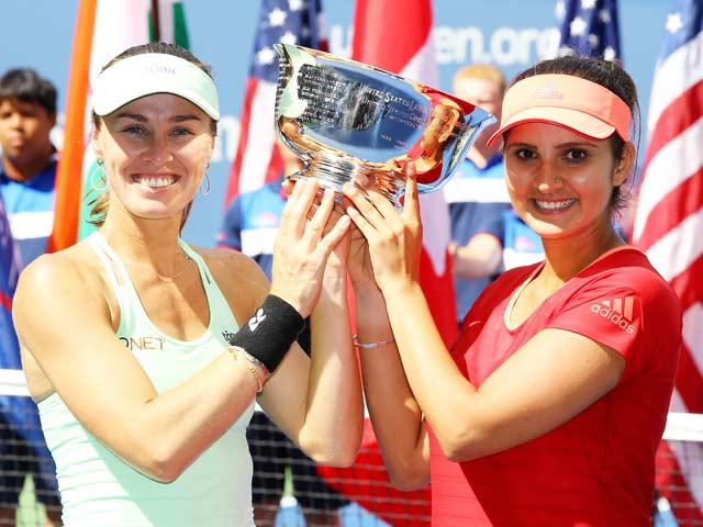 यूएस ओपन : तस्वीरों में देखें सानिया मिर्जा की खिताबी जीत का जश्न