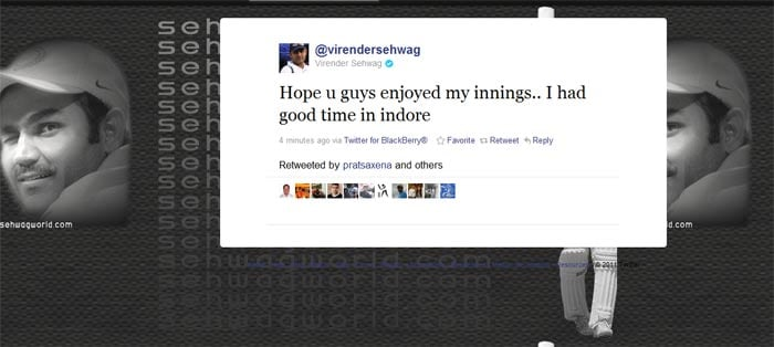 Viru, Dhoni tweet about the double-century magic