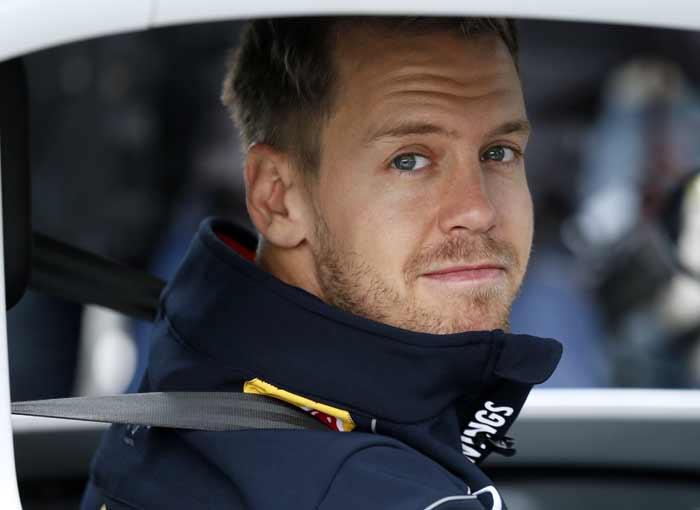 Sebastian Vettel drives the unusual car