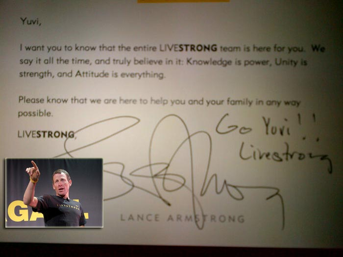 Yuvraj Singh tweets about message from Lance Armstrong