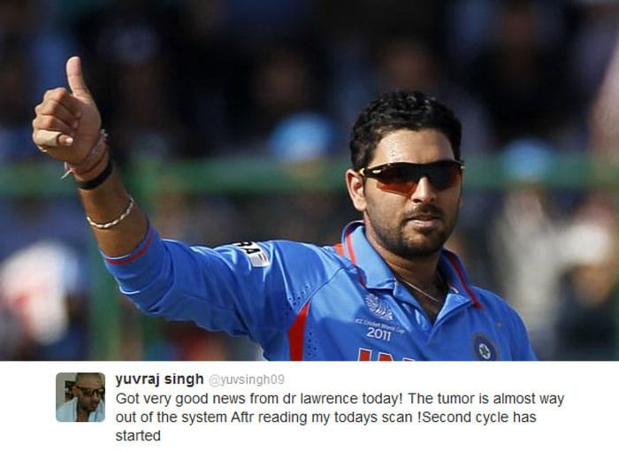 Yuvraj Singh tweets good news, 'tumour almost out'