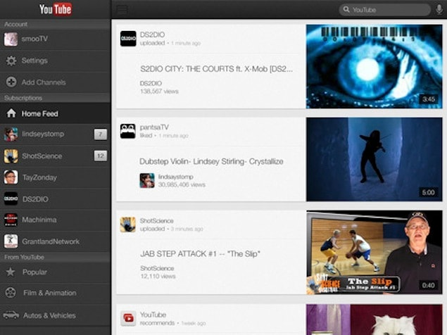YouTube app for iOS now optimised for iPad, iPhone 5; includes AirPlay