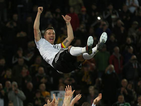 Lukas Podolski Hits Germany Winner Against England to Sign Off in Style