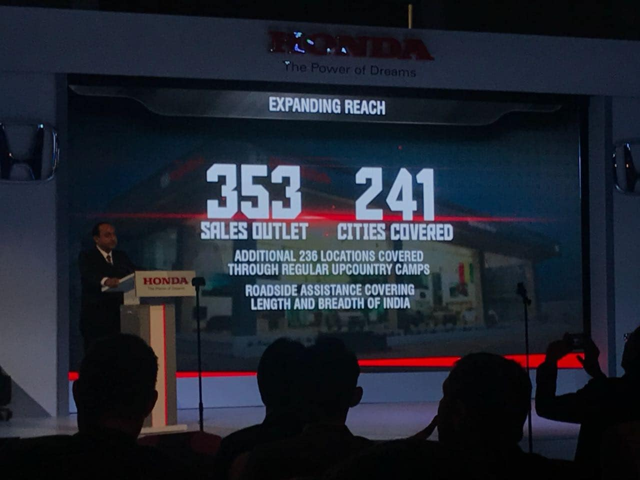 Honda Car India has 353 sales outlets in 241 cities across India. Honda is also offering roadside assistance for its cars throughout India as well