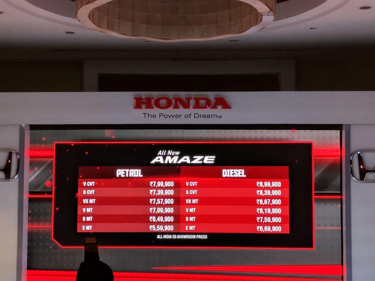 Hyundai Xcent vs 2018 Honda Amaze: Specifications compared