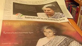 Video : Govt spends crores on ads for Indira Gandhi