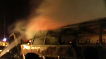 Video : Bus carrying pilgrims catches fire in UP, 25 feared dead