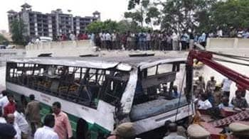 Video : Bus falls off  flyover in Chennai