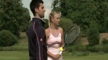 Video : Djokovic, Sharapova play tennis golf
