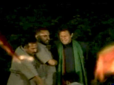 Video : Imran Khan falls off stage during rally, injured