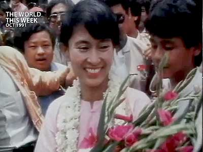 Video : The World This Week: Aung San Suu Kyi awarded Nobel peace prize (Aired: October 1991)