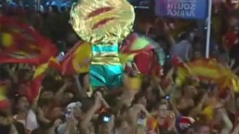 Fans celebrate Spain's World Cup win