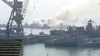 Video : Navy warship ruined in fire