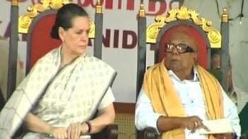 Video : Sonia Gandhi, Karunanidhi hold joint rally