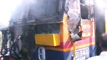 Video : Railway engine catches fire at Kalyan station