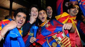 Fans celebrate Barcelona
