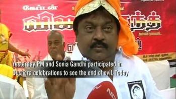 Video : Vijaykant on fast for Tamil fishermen