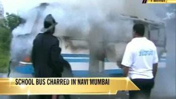Video : Mumbai school bus goes up in flames