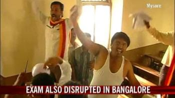Video : Railway exam postponed after protests in Mysore