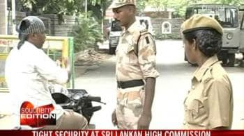 Video : Tight security at Sri Lankan High Commission