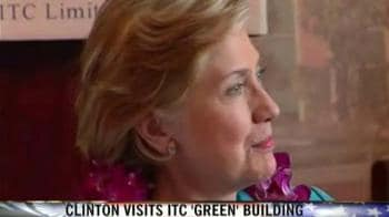 Video : Hillary visits ITC Green building in Gurgaon